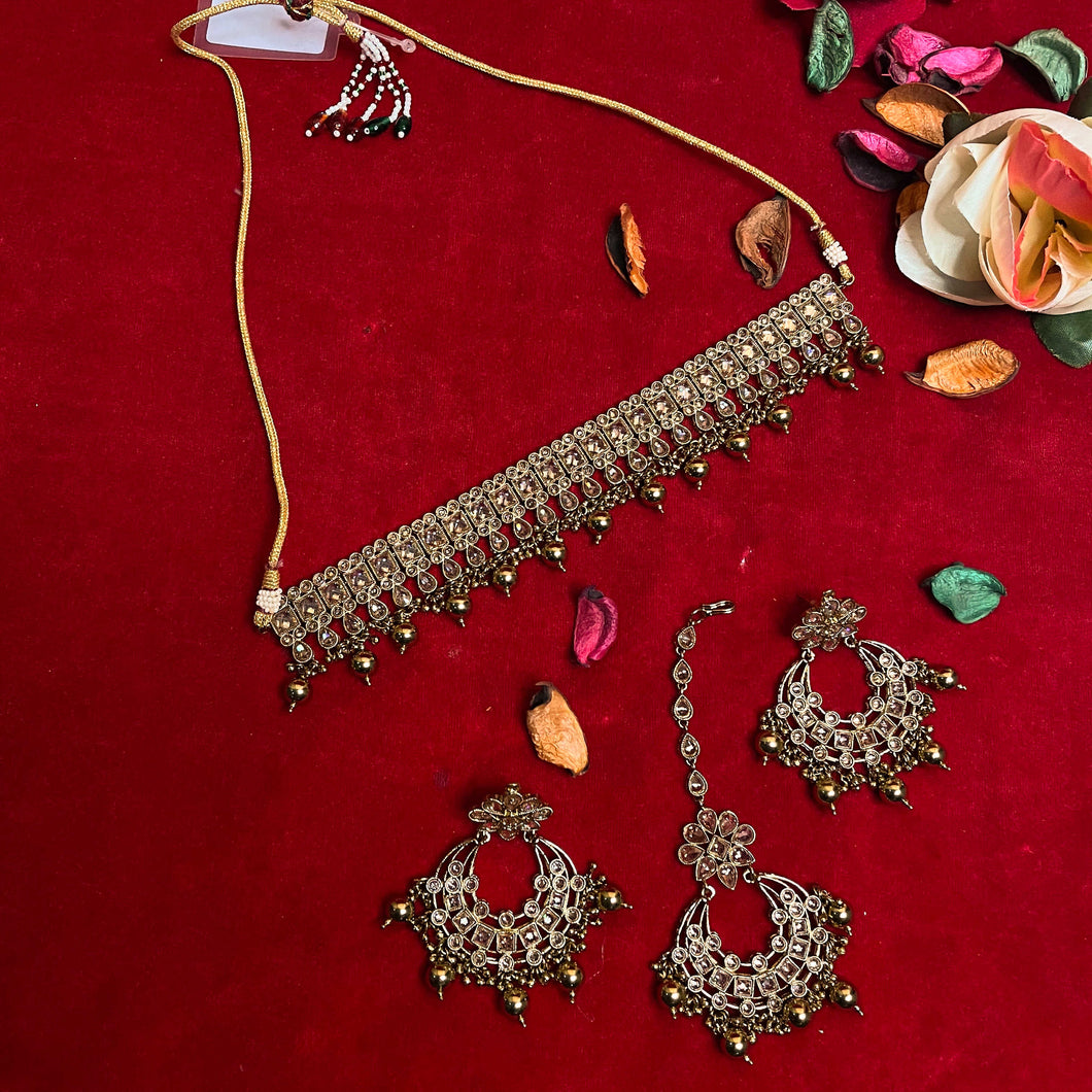 Gold Kundan Choker Necklace Set with Earrings & Tikka - Care Fashioners