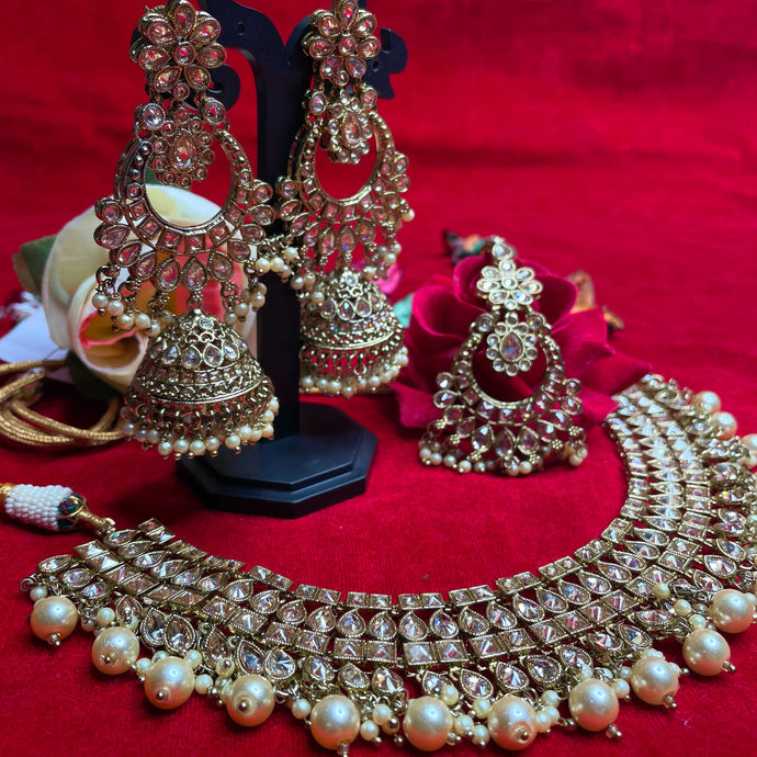 Gold Polki Kundan Necklace Set