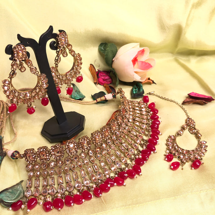 Red Polki Kundan Necklace Set