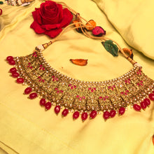 Load image into Gallery viewer, Red Polki Kundan Necklace Set