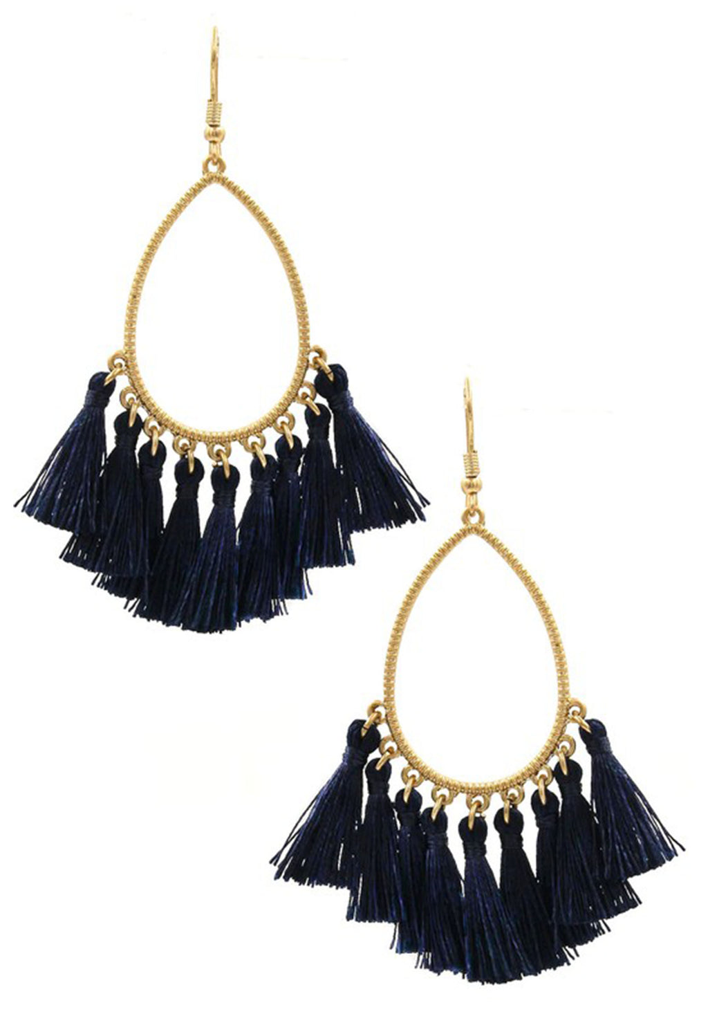 Black tear drop earrings with tassels