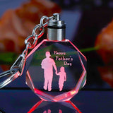 K9 Crystal Key Chain Father's Day Gift Miniature Laser Engraving Pendant Colorful LED Light Key Ring Trinket Cool Dad Papa Gift