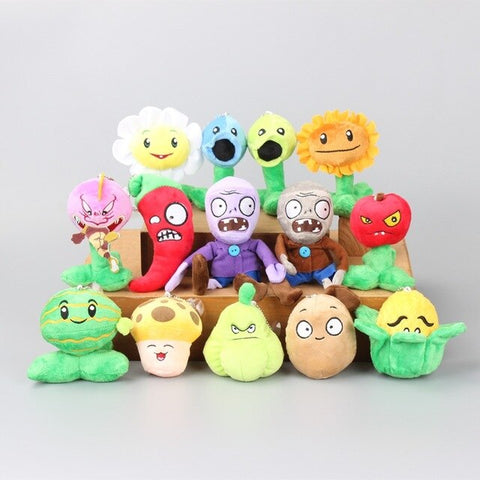 14pcs High Quality PVZ Plants VS Zombies Soft Plush Toy Dolls Kids Gift Action Figure Model Toy Gift For Children Christmas