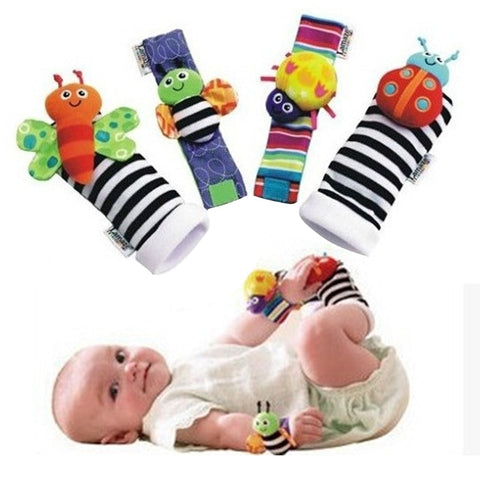 4PCS/LOT Baby Boys Girls Toy Baby Rattle Bees Wrist Foot Sock Newborn Baby Plush Sock chocalho do bebe brinquedos 0-6 Month