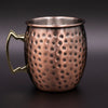 Antique Copper Plated Curved Moscow Mule Mug - Hammered 550ml