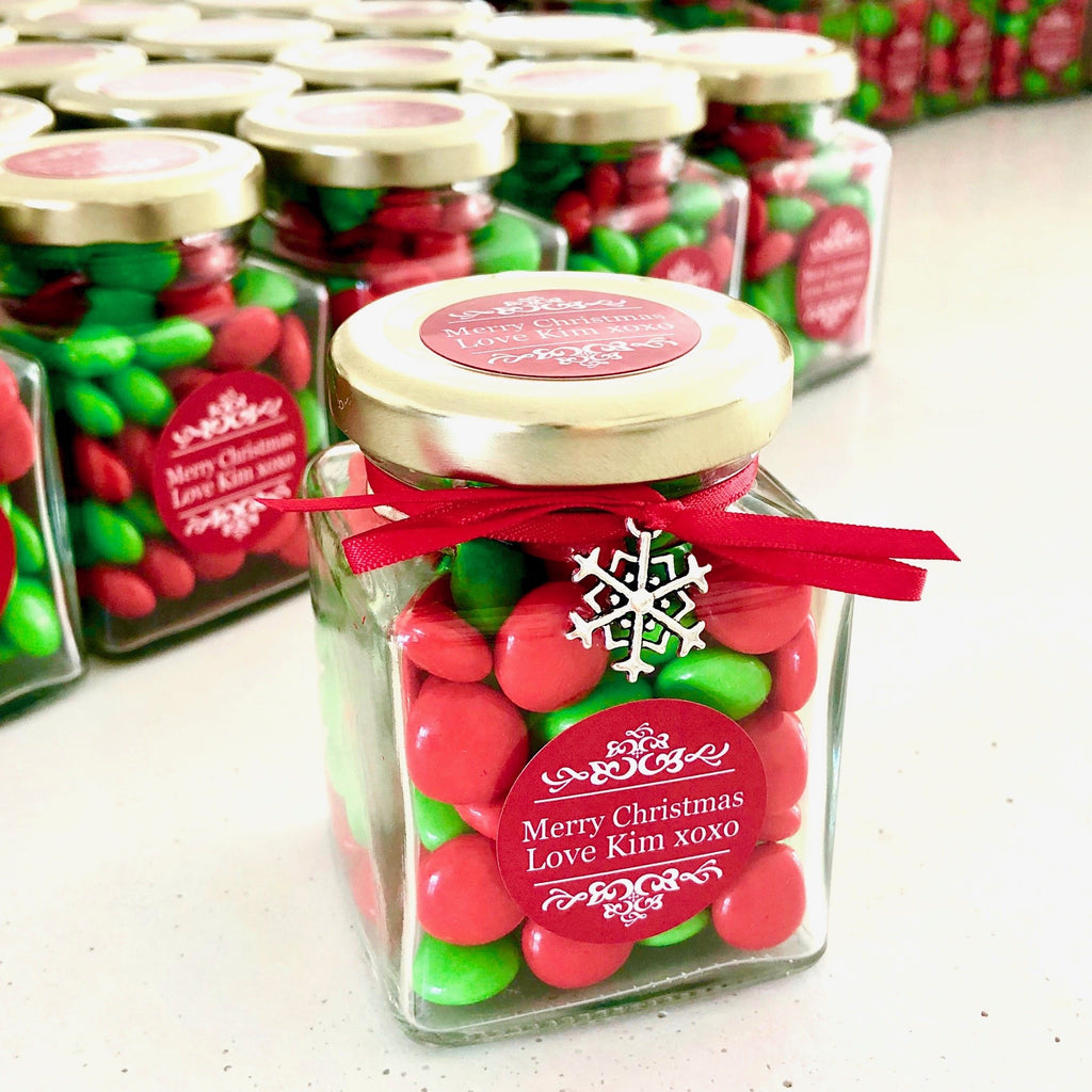 Christmas Candy Jar - Red & White Choc Buttons with Snowflake Charm