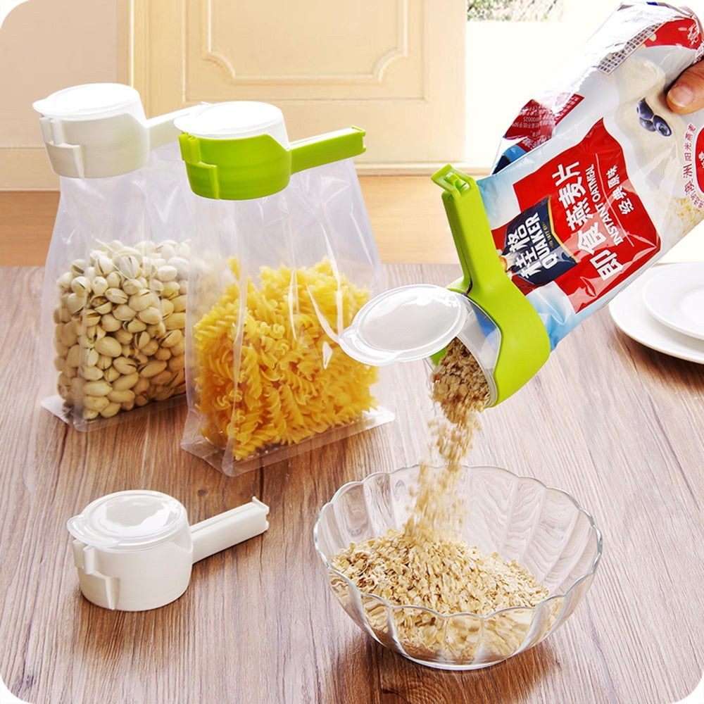 Seal Pour Food Storage Bag Clip Food Sealing Clip Effect Clamp With Large Discharge Nozzle For Storage Food Kitchen Tools