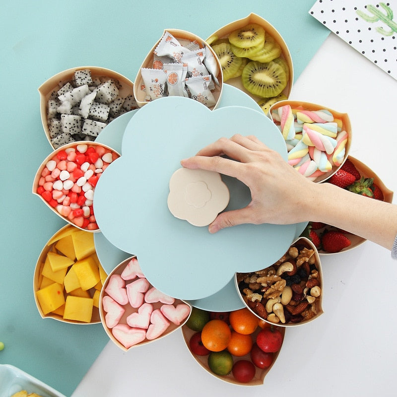Creative Double-layer Rotary Storage Box Flower Design Plastic Snack Candy Box Fruit Basket Wedding Decoration Organizer