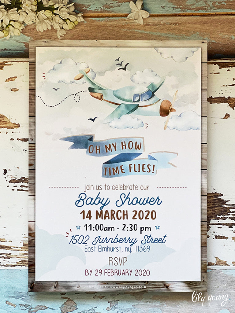 EDITABLE Vintage Plane E-Invitation