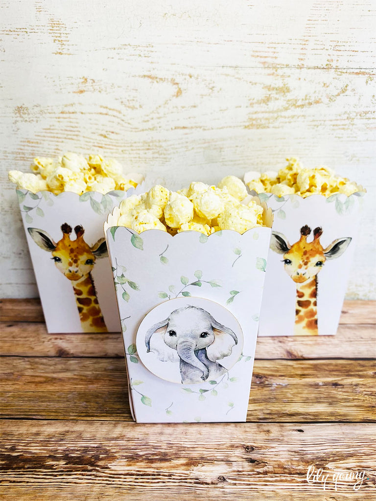 Baby Wild Animals Small Popcorn boxes - Pack of 12
