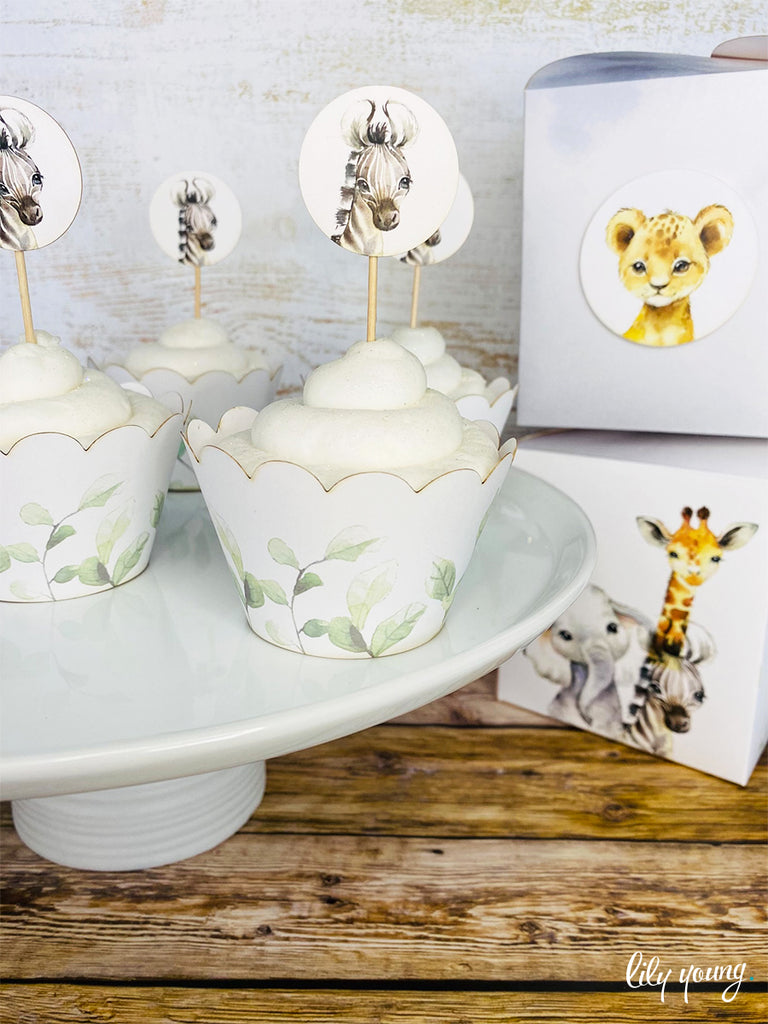 Baby Wild Animals Cupcake wrapper & topper - Pack of 12