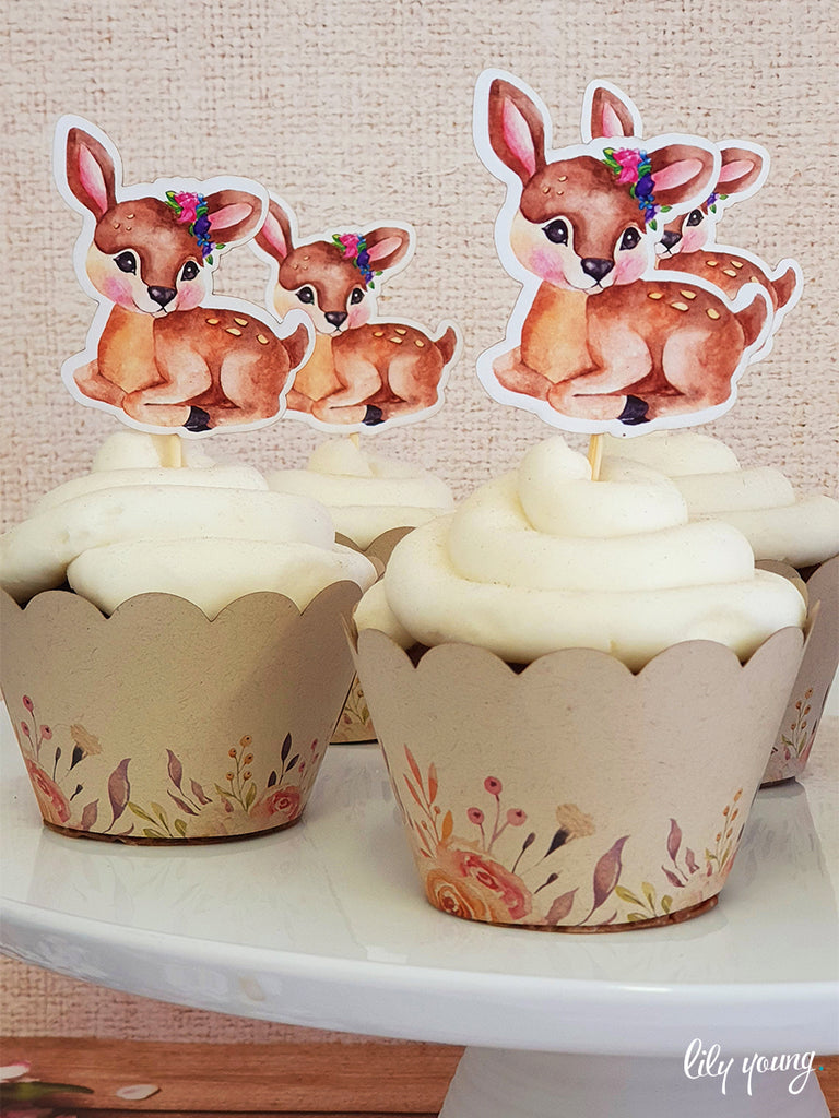 Bambi Cupcake wrapper & topper - Pack of 12