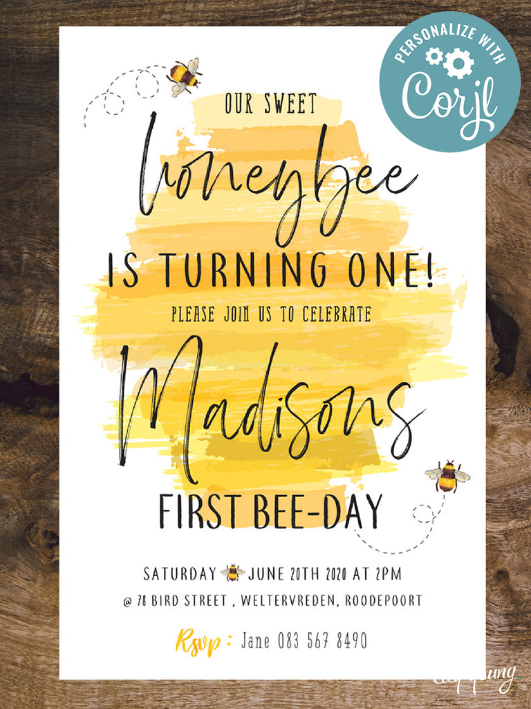EDITABLE Bee E-Invitation