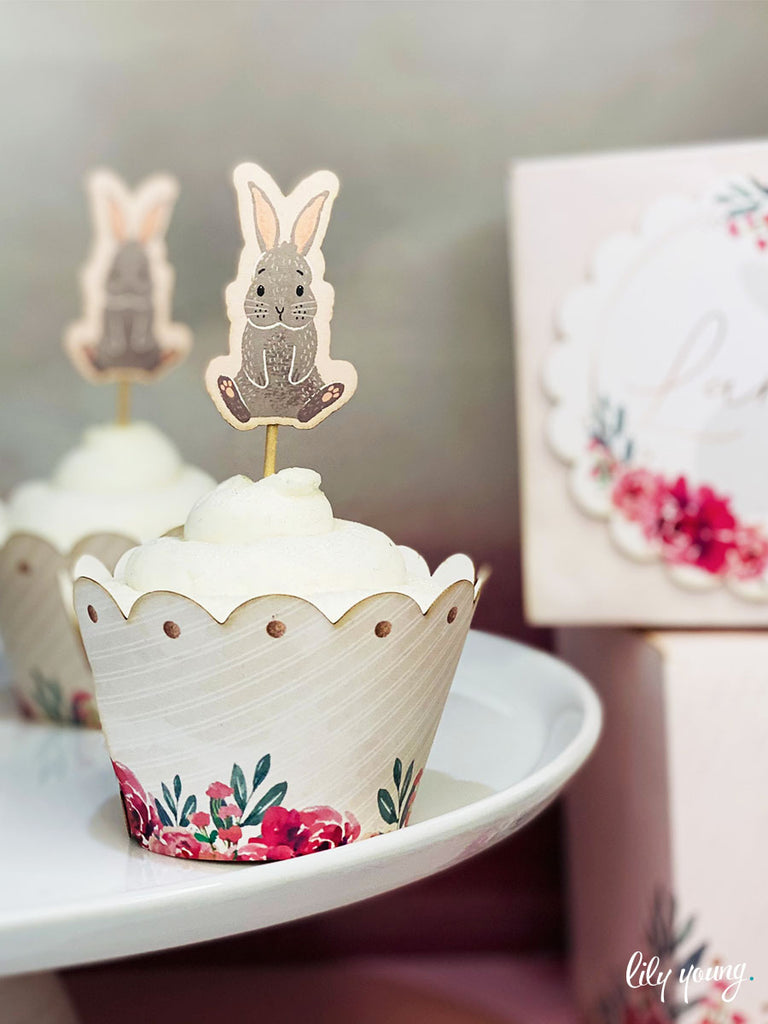 Bunny Cupcake wrapper & topper - Pack of 12
