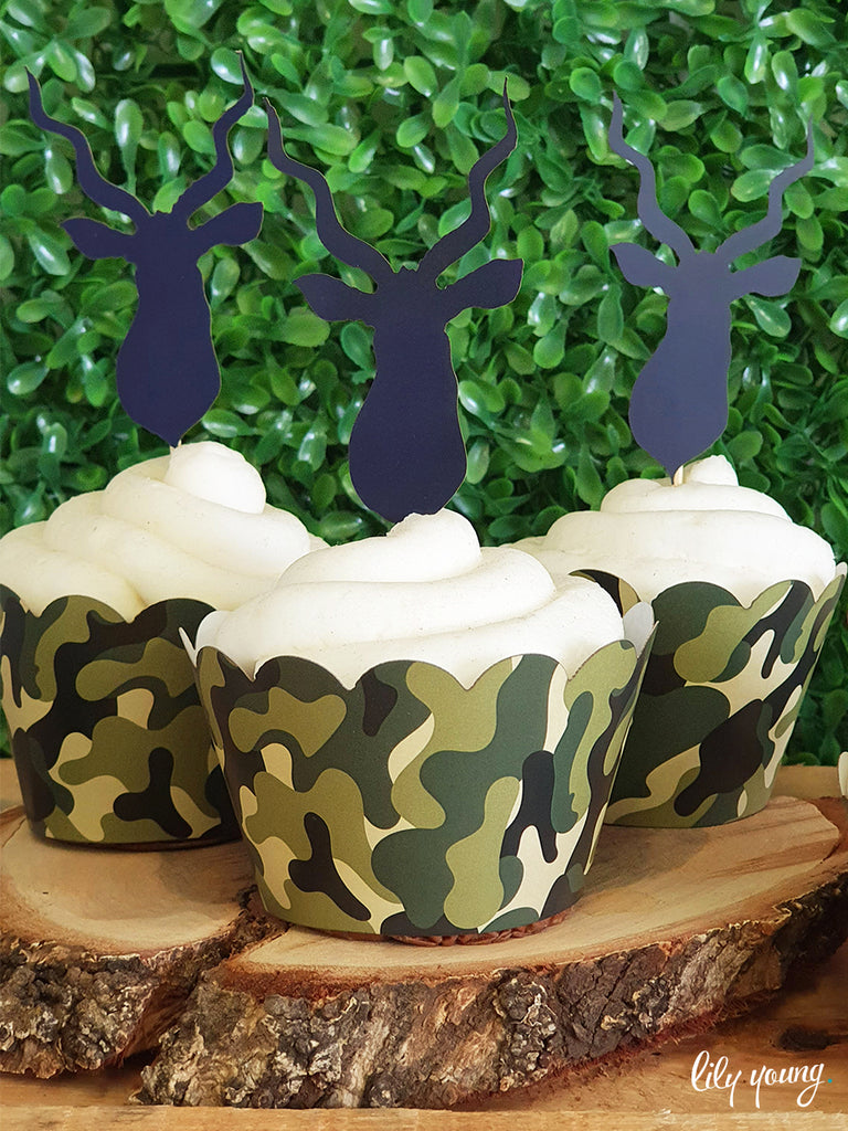 Camo Cupcake wrapper & topper - Pack of 12