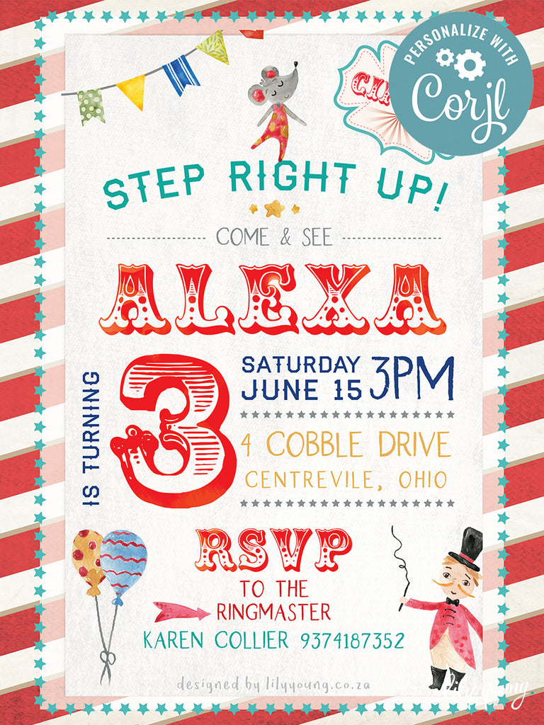 EDITABLE Circus E-Invitation