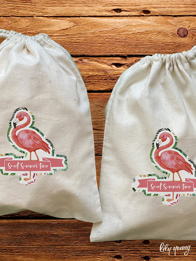 Flamingo Draw string Bags - Pack of 12