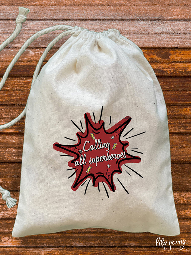 Superhero Draw string Bags - Pack of 12