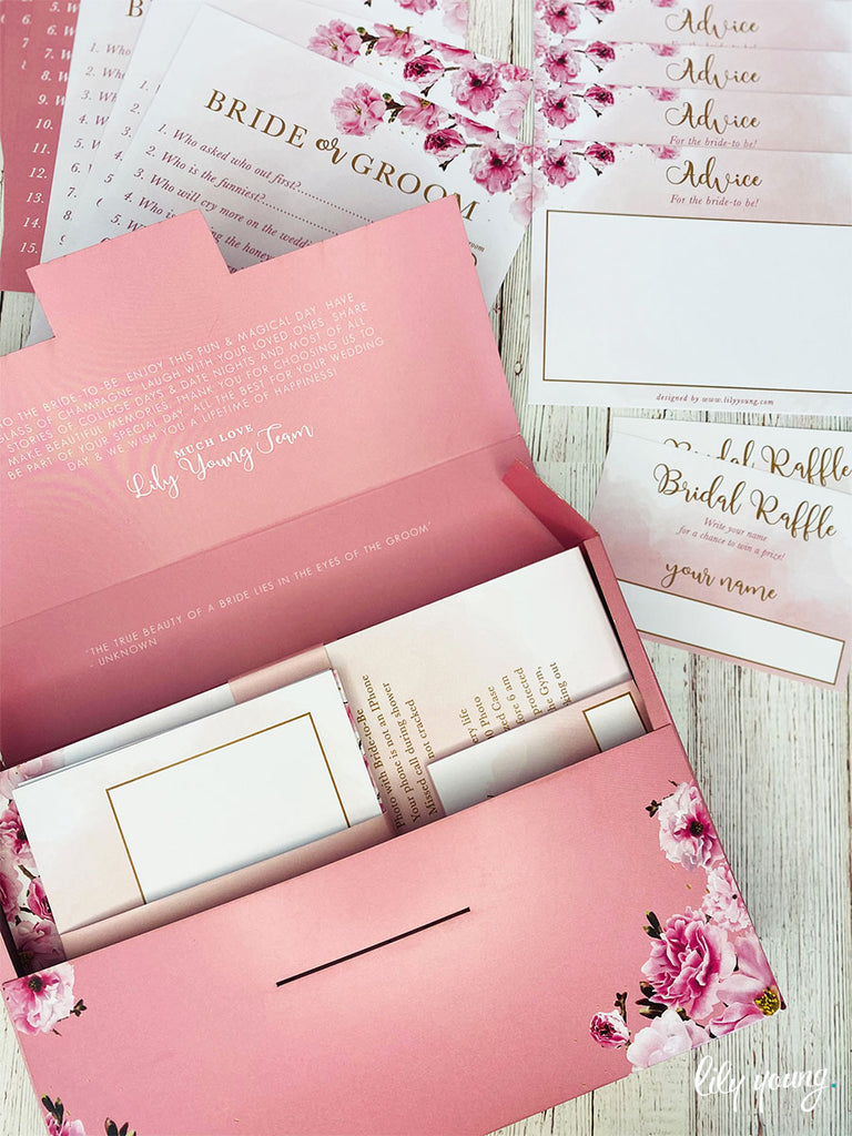 Pink Floral Bridal Shower Game Box