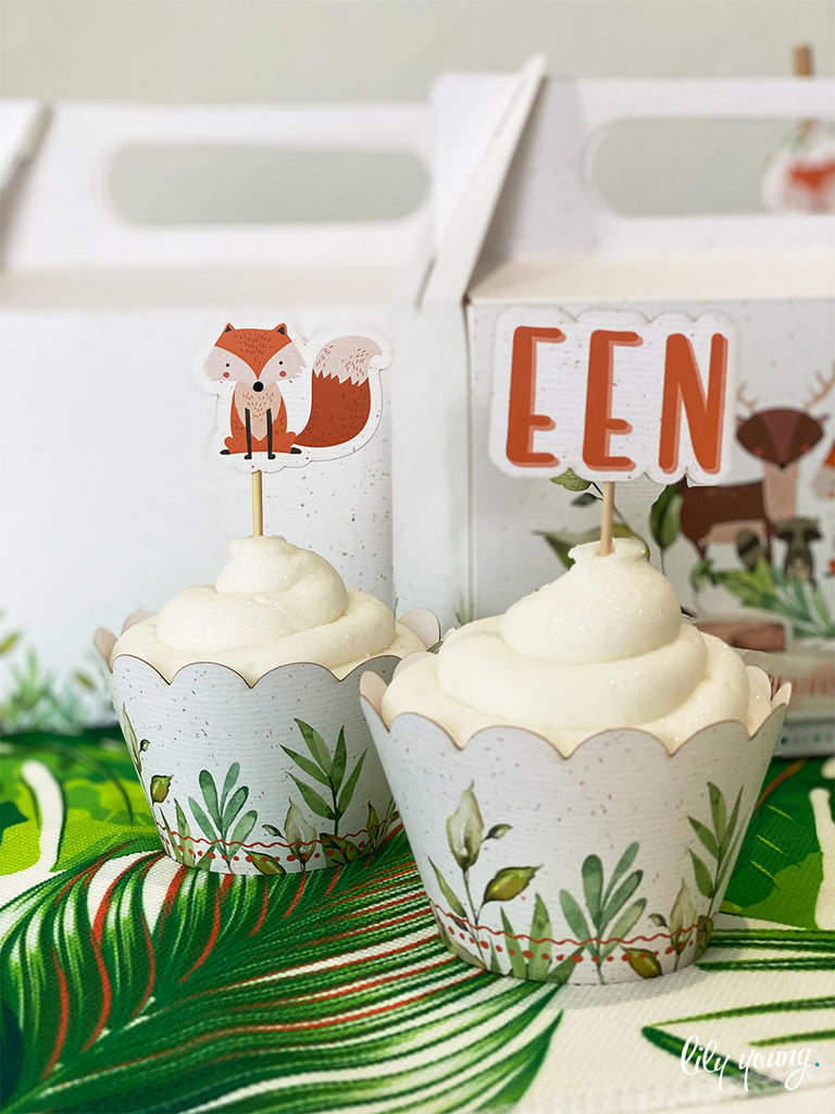Fox Cupcake wrapper & topper - Pack of 12