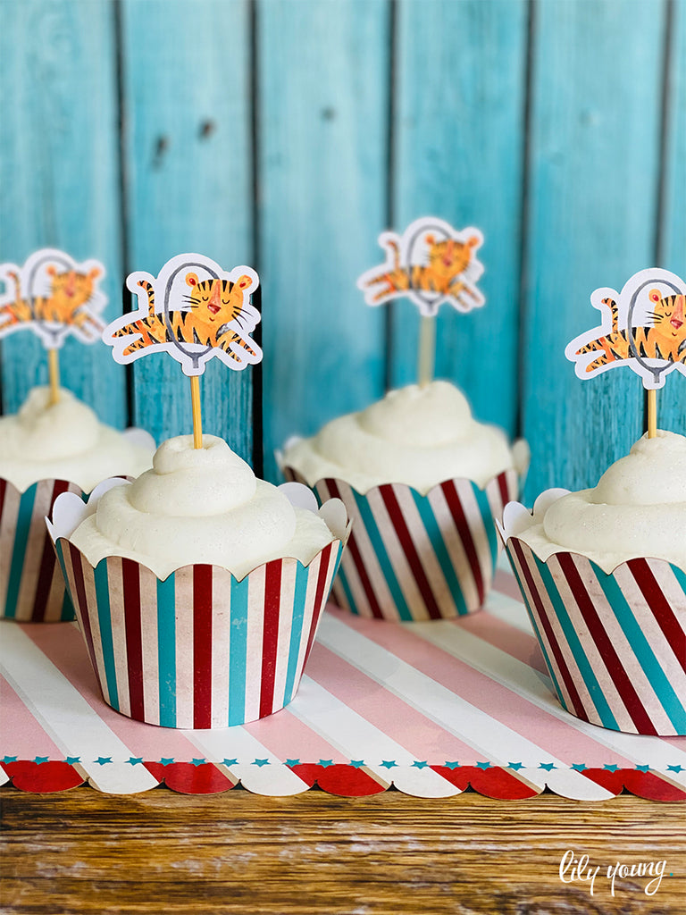 Circus Cupcake wrapper & topper - Pack of 12