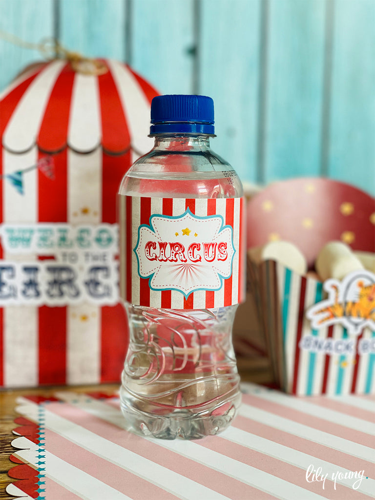 Circus Water Bottle Labels - Pack of 12