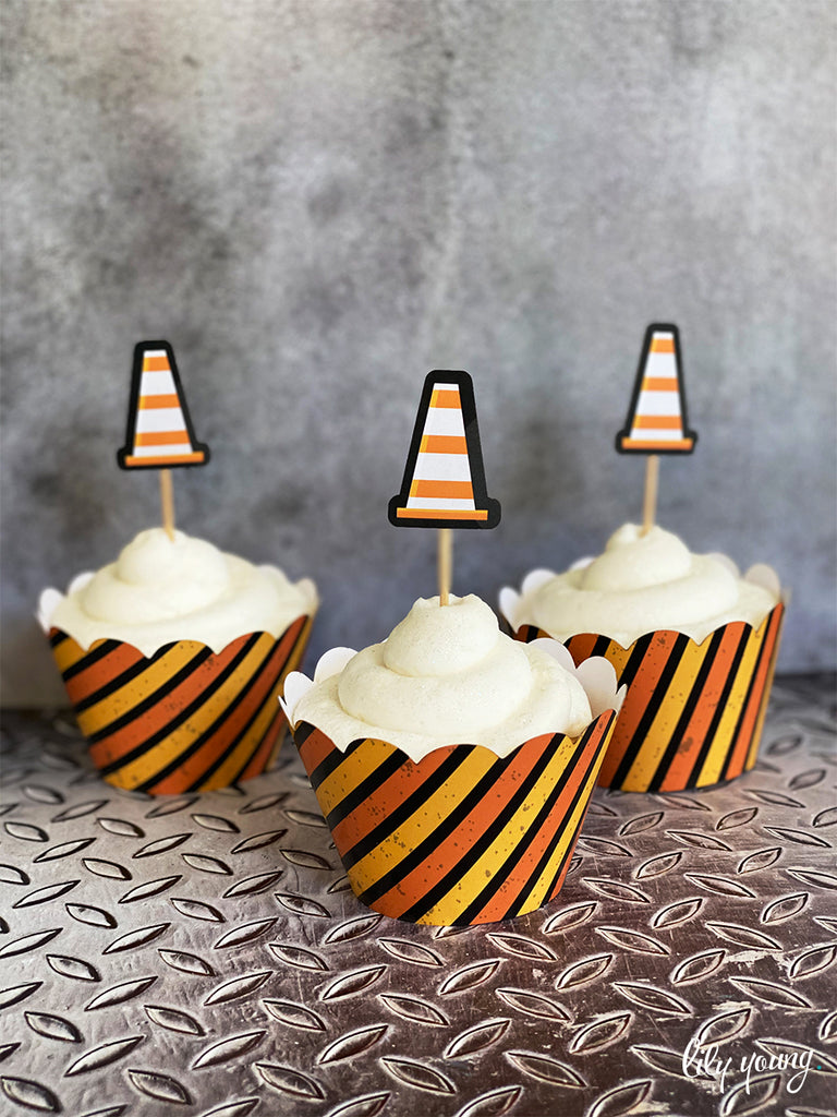 Construction Cupcake wrapper & topper - Pack of 12