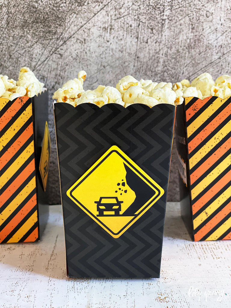 Construction Popcorn boxes - Pack of 12