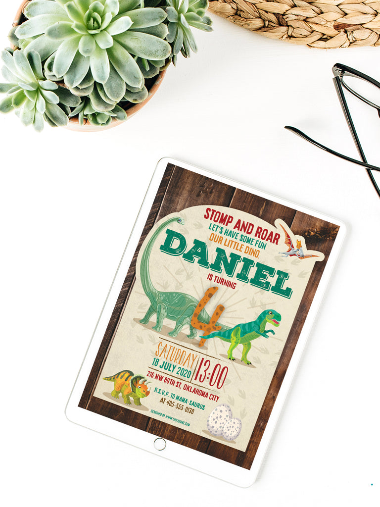 EDITABLE Dinosaur E-Invitation