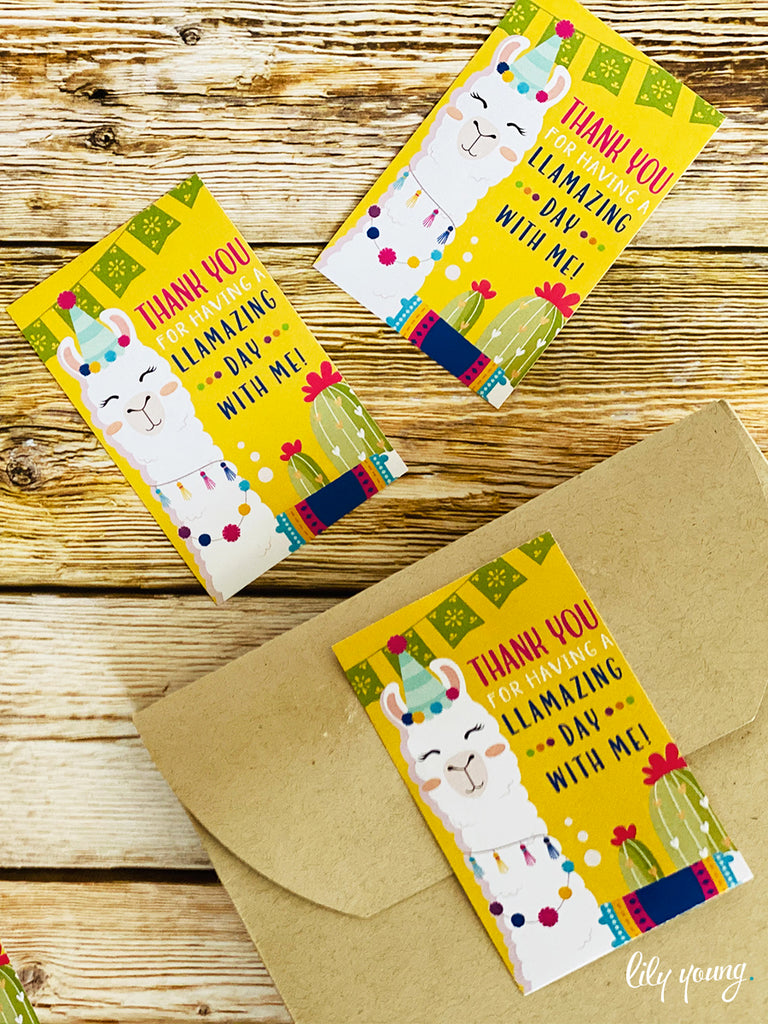 Green/Yellow Llama Sticker - Pack of 12