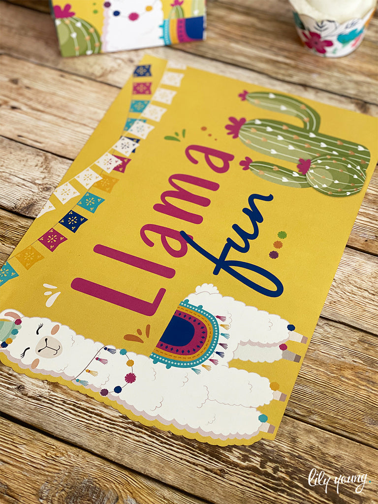 Green/Yellow Llama Under plate - Pack of 12
