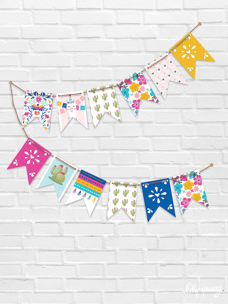 Green/Yellow Llama Bunting - Pack of 1