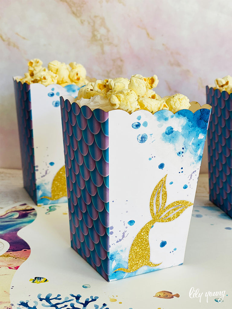 Small Mermaid Popcorn boxes - Pack of 12