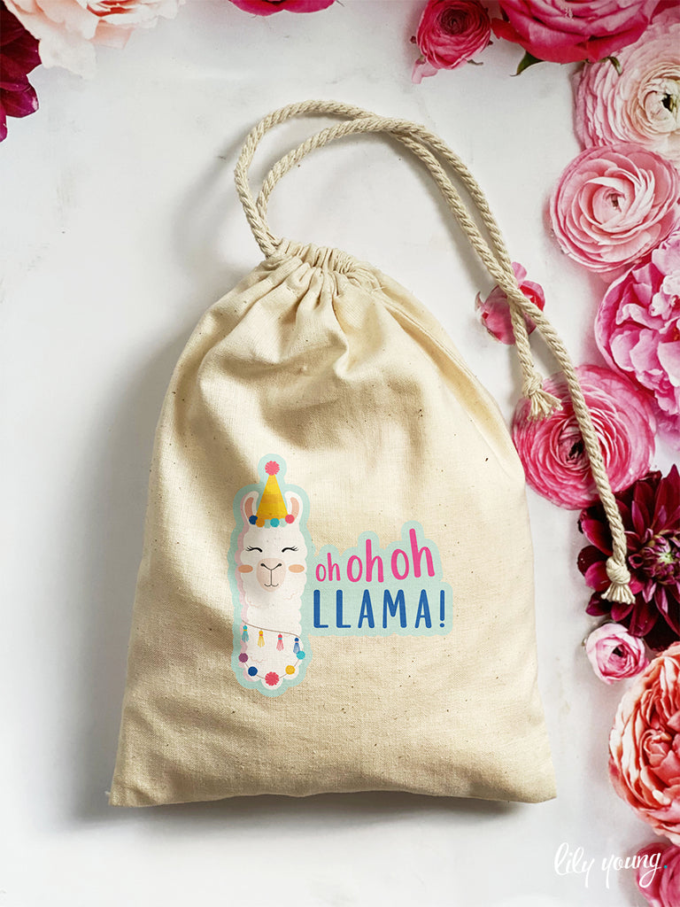 Pink/Blue Llama Draw string Bags - Pack of 12