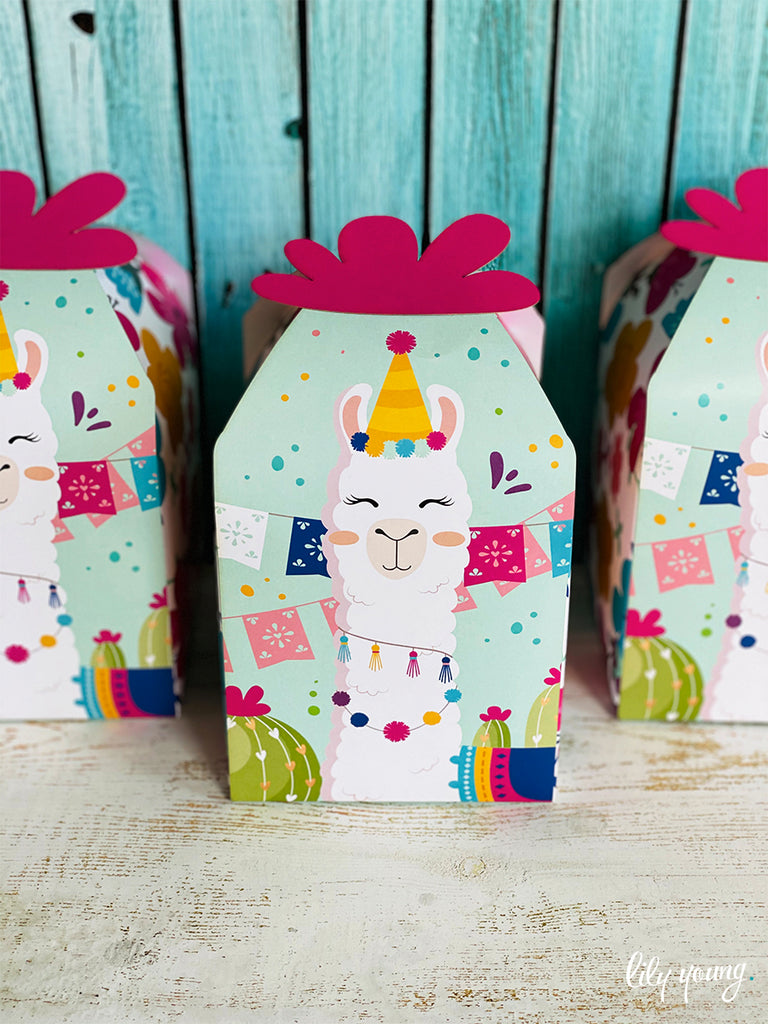 Large Pink/Blue Llama Boxes - Pack of 12