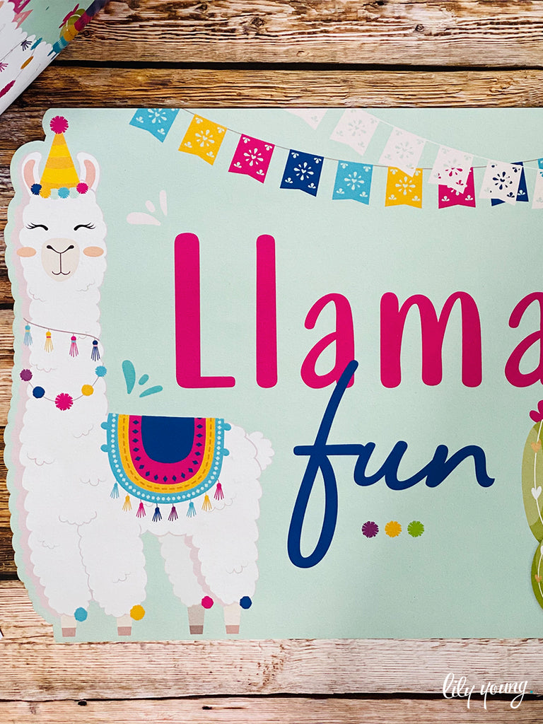 Pink/Blue Llama Under plate - Pack of 12