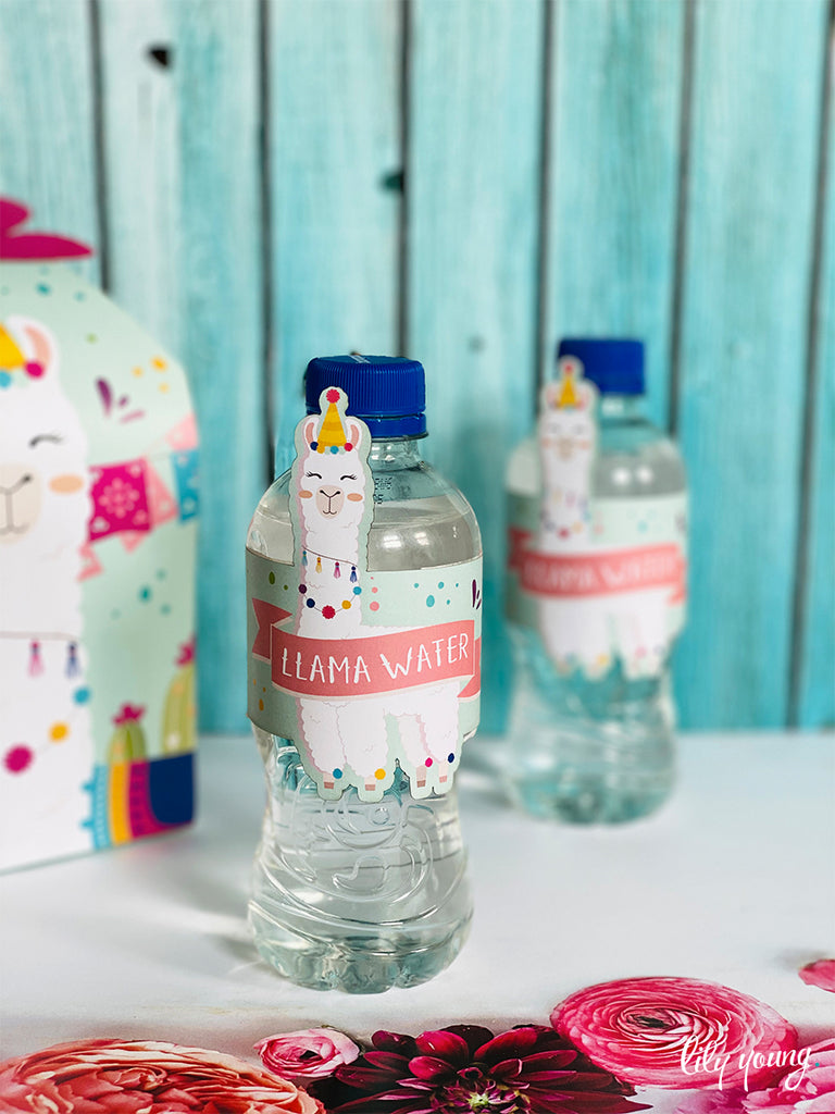 Pink/Blue Llama Water Bottle Labels - Pack of 12