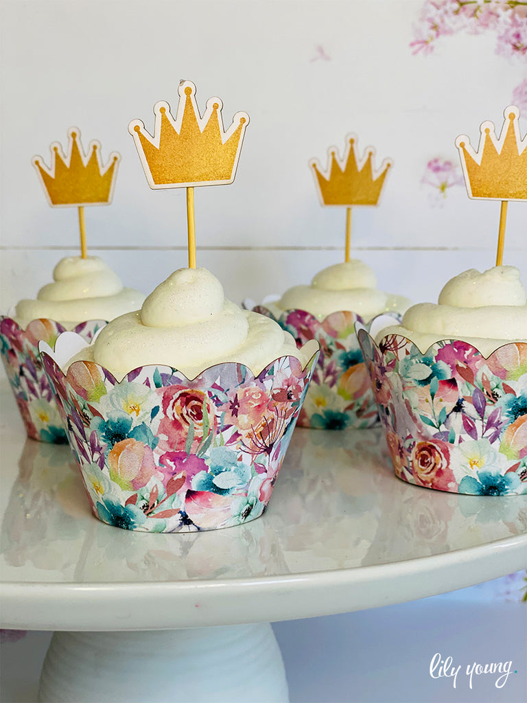 Princess Cupcake wrapper & topper - Pack of 12