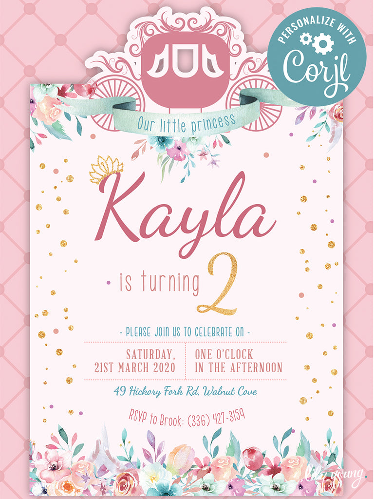 EDITABLE Princess E-Invitation