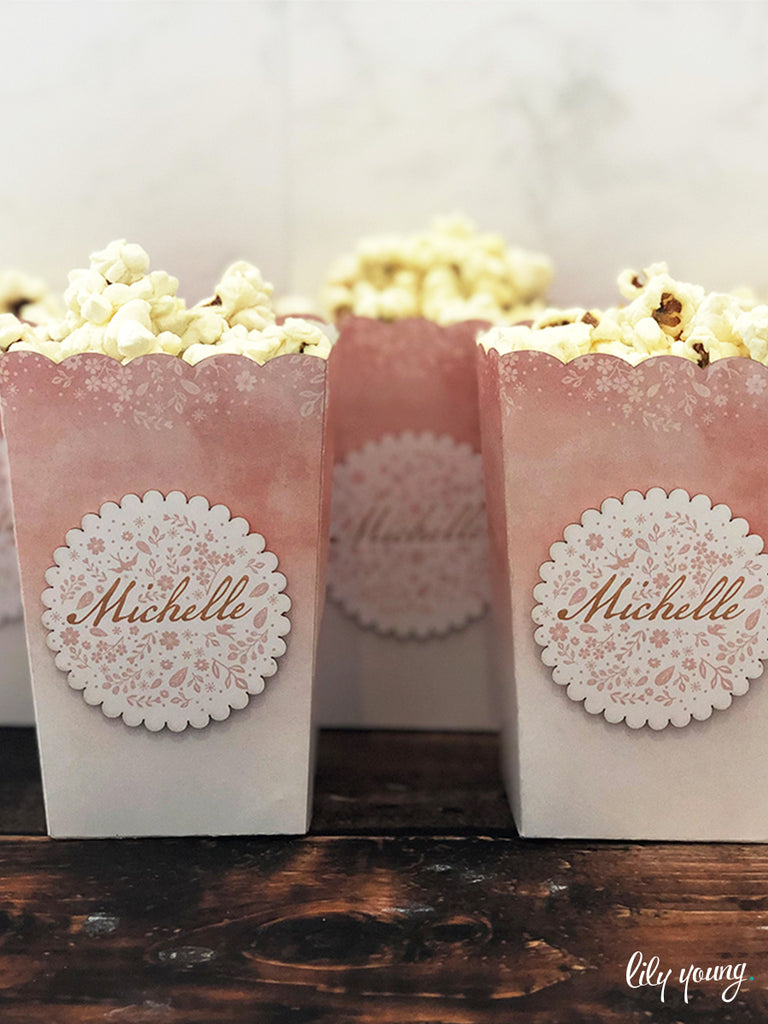 Blush Pink Small Popcorn boxes - Pack of 12