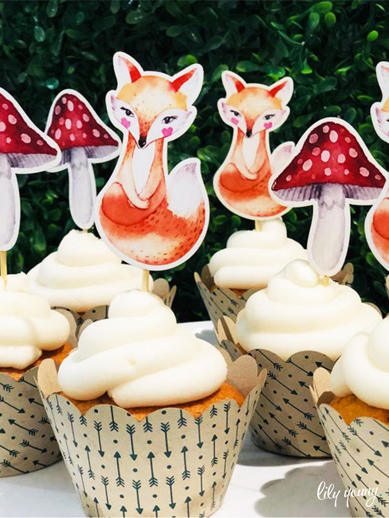 Woodlands Cupcake wrapper & topper - Pack of 12