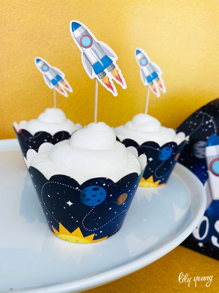 Space Cupcake wrapper & topper - Pack of 12