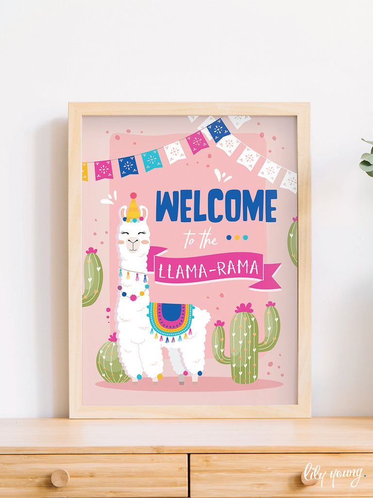 Pink/Blue Llama Welcome Sign - Pack of 1