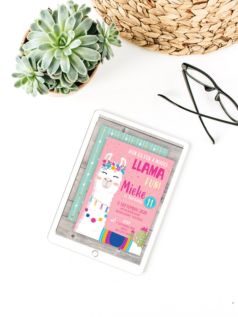 EDITABLE Pink/Blue Llama E-Invitation