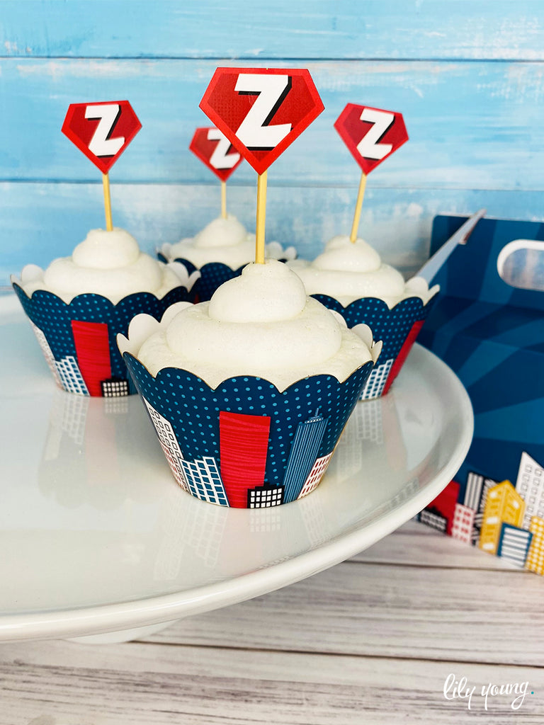 Superhero Boy Cupcake wrapper & topper - Pack of 12