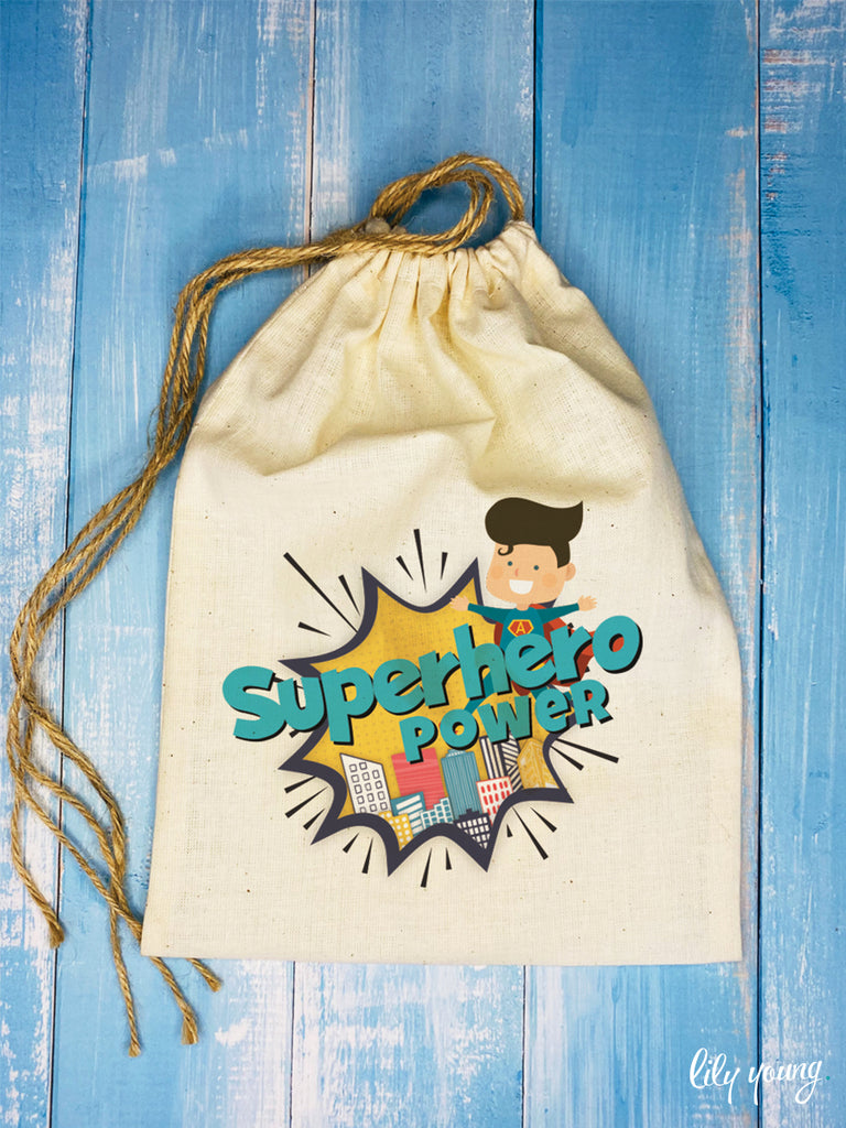 Superhero Boy Draw string Bags - Pack of 12