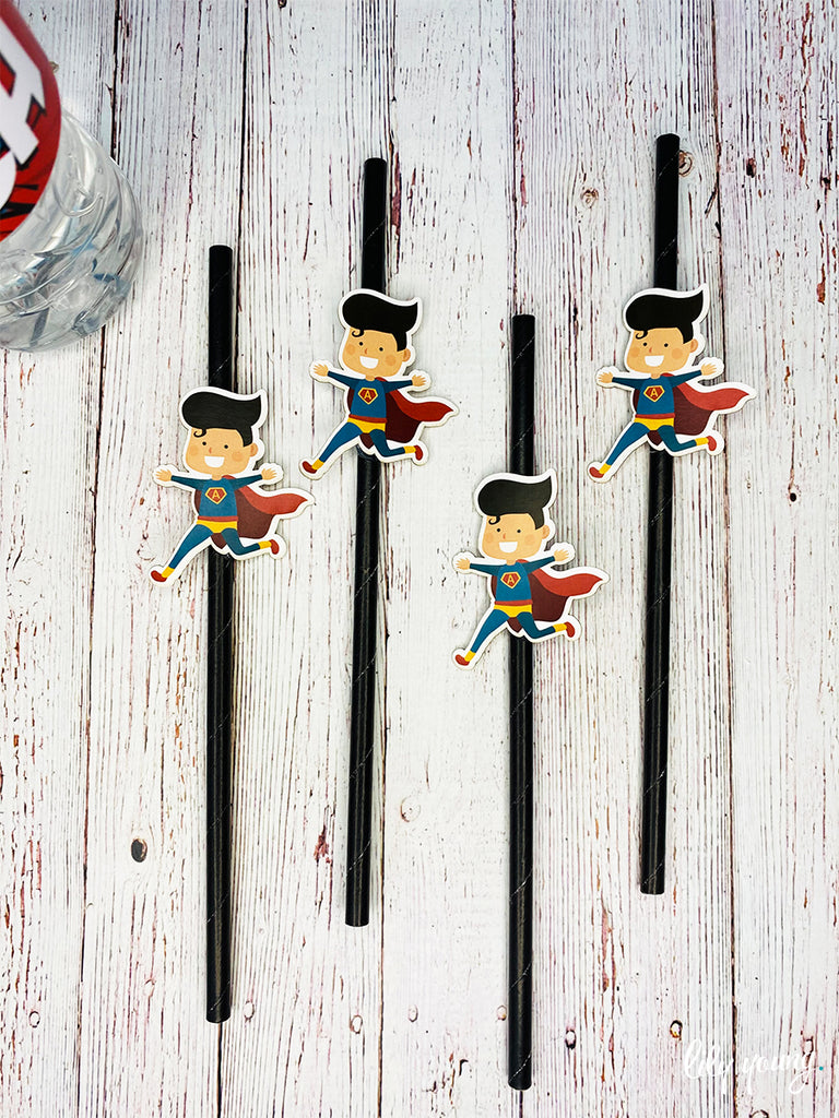 Superhero Boy Straw Flag set - Pack of 12