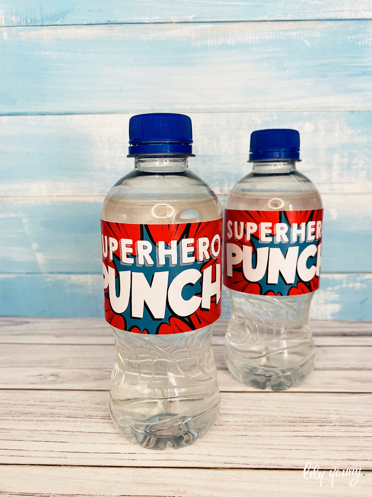 Superhero Boy Water Bottle Labels - Pack of 12