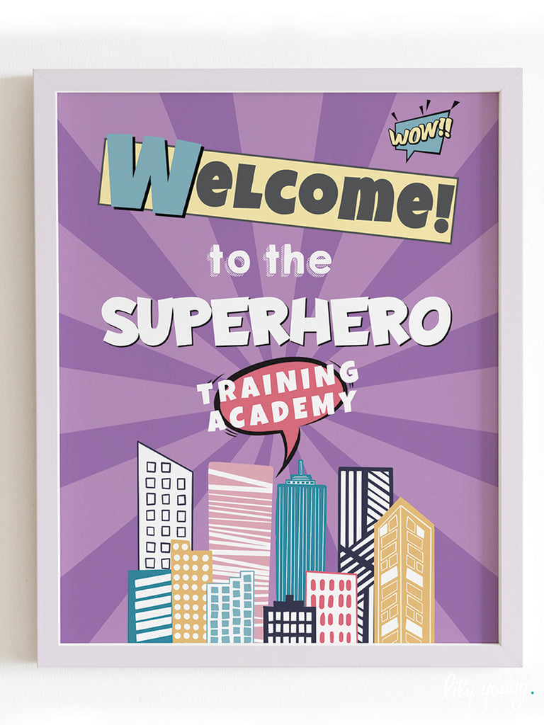Superhero Girl Welcome Sign - Pack of 1
