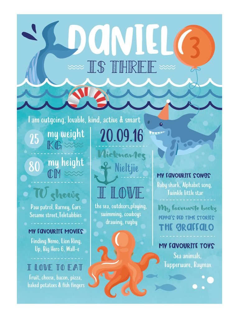 Under the sea Milestone Print - Pack of 1